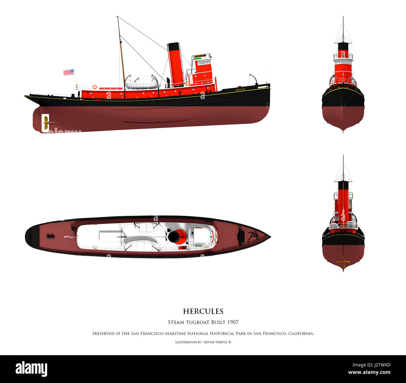 Tug Boat Cut Out Stock Images Pictures Alamy Tugboat Wiring Diagram Illustration Of Hercules Steam Image