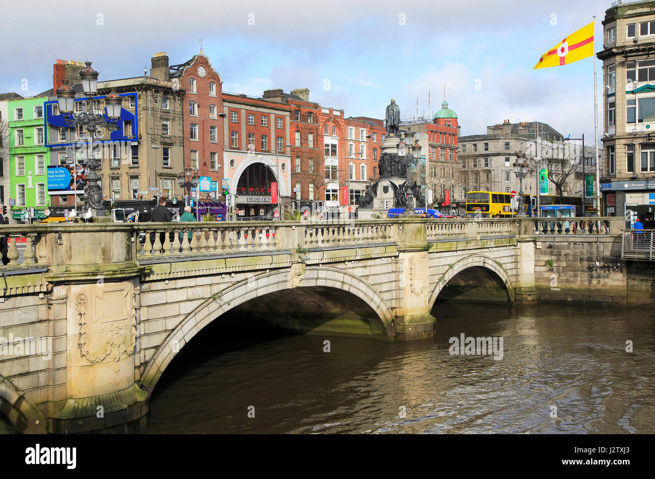 O'Connell Bridge, River Liffey, city of Dublin, Ireland, Irish Republic Stock Photo
