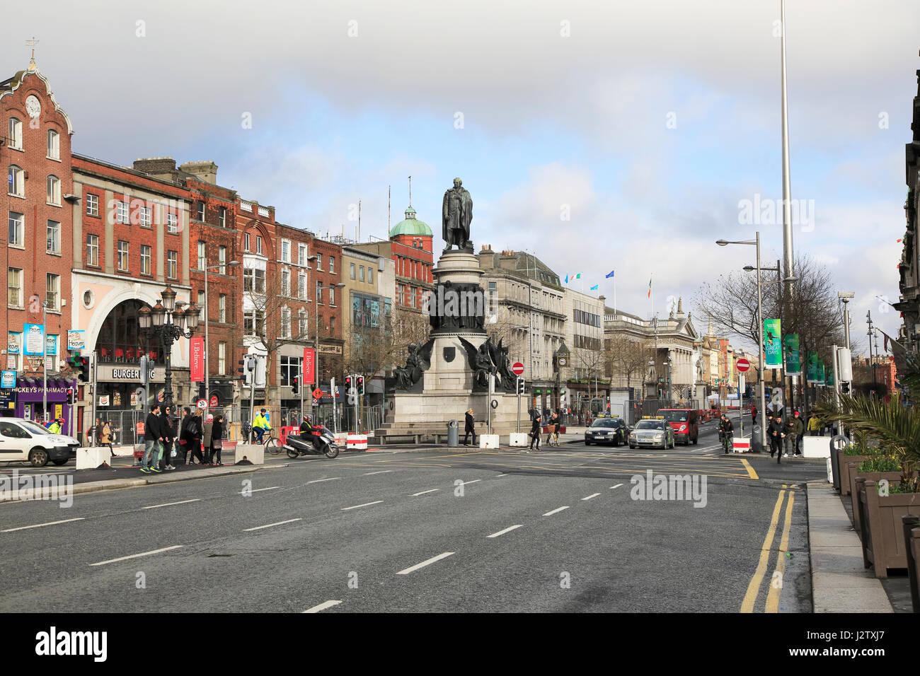 O'Connell Monument, O'Connell Street, city centre of Dublin, Ireland, Irish Republic Stock Photo