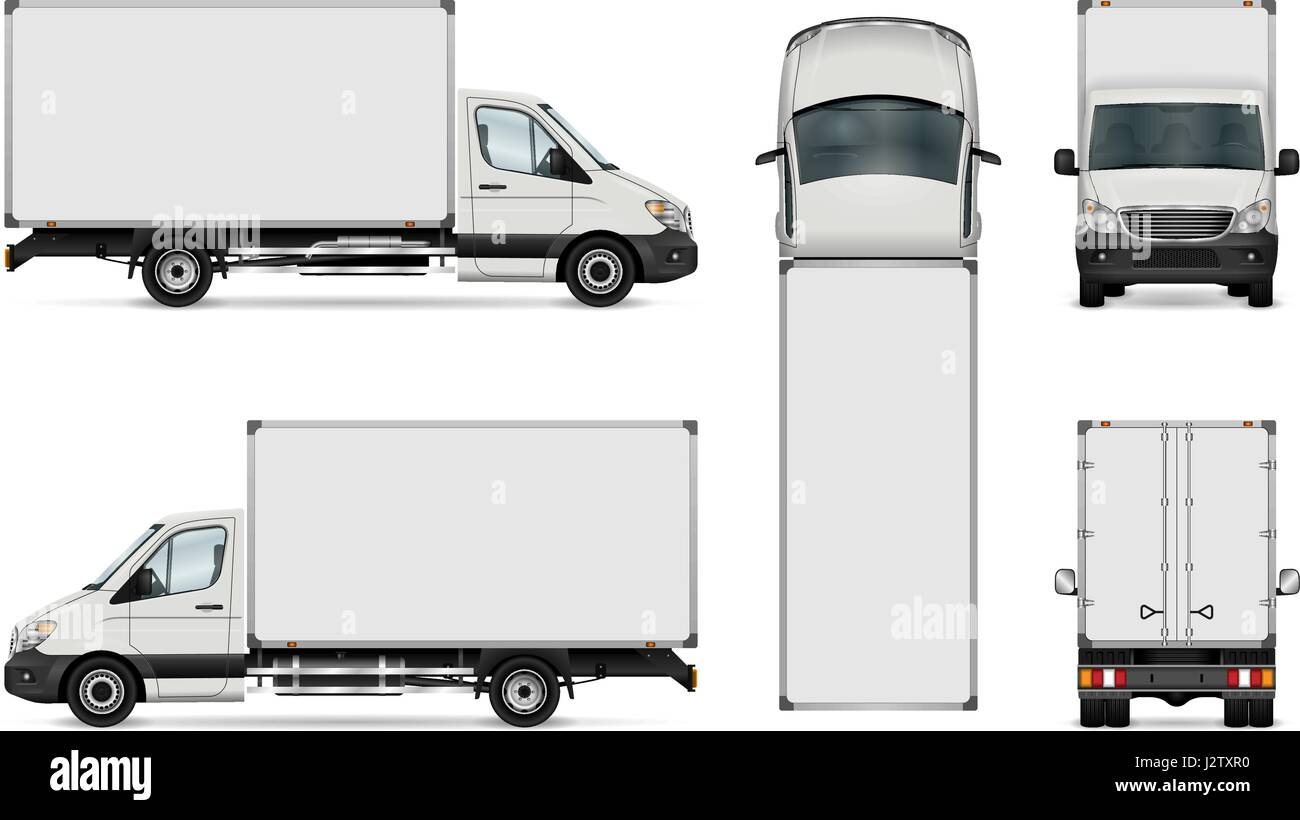 bc3b1f0bba77 White van vector template. Isolated delivery truck. All elements in the groups  have names
