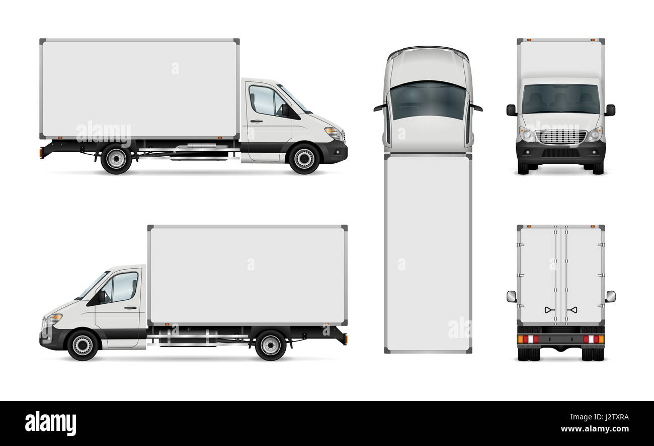 White Van Illustration. Isolated Delivery Truck Stock