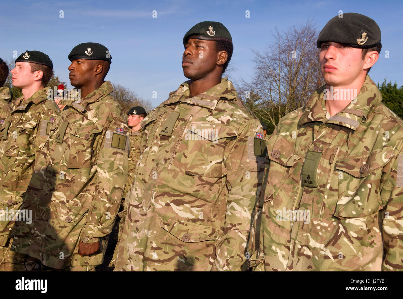 Rifleman Paul Apowida, former African 'Spirit Child' who was helped by Afrikids at the The Rifles Medal Parade at Stock Photo
