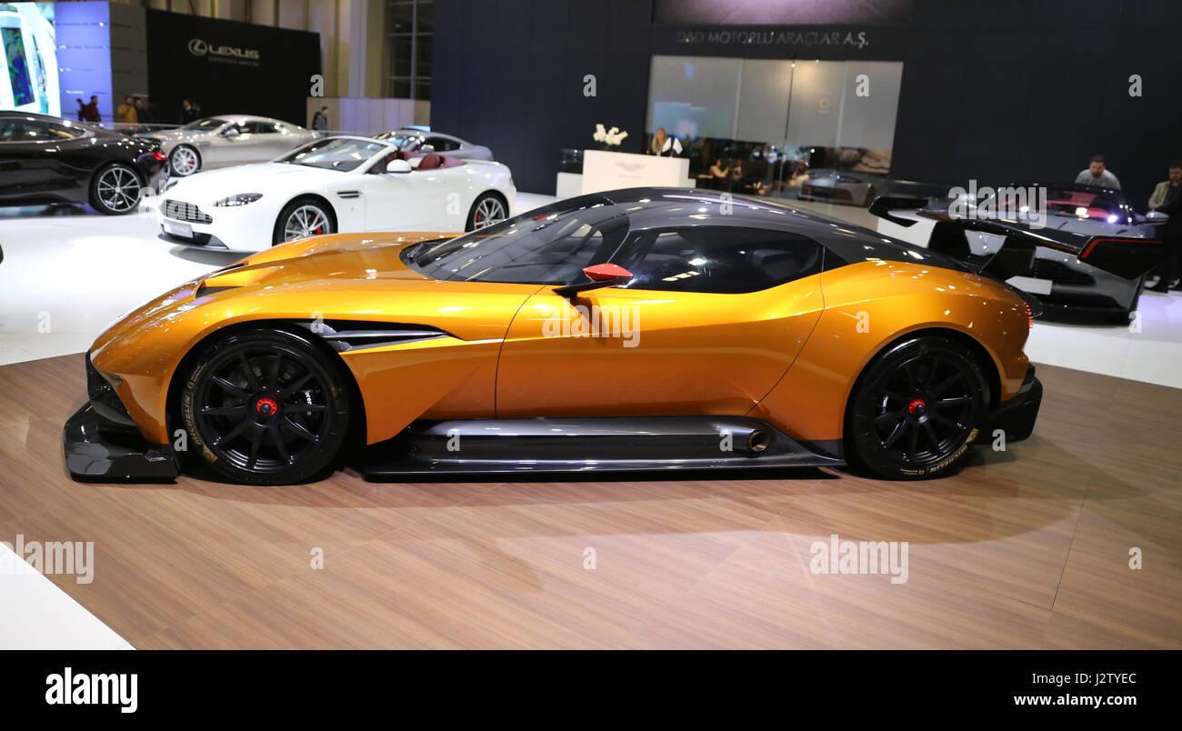 ISTANBUL, TURKEY - APRIL 22, 2017: Aston Martin Vulcan on display at Autoshow Istanbul - Stock Image