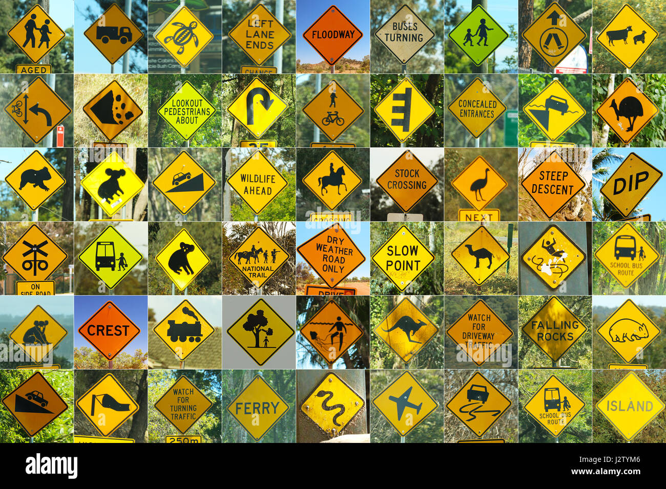 All the famous Australian traffic signs Stock Photo
