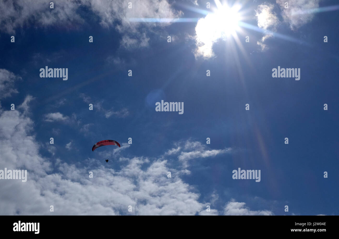 sky hang glider circling in the south east  coastal town of margate in kent uk april 2017 - Stock Image