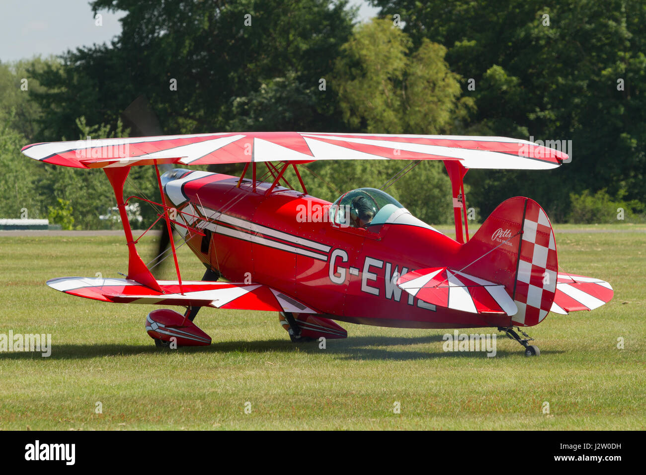 Cosford UK - June 9 2013: Pitts Special high performance aerobatic biplane first flown in 1944 and manufactured - Stock Image