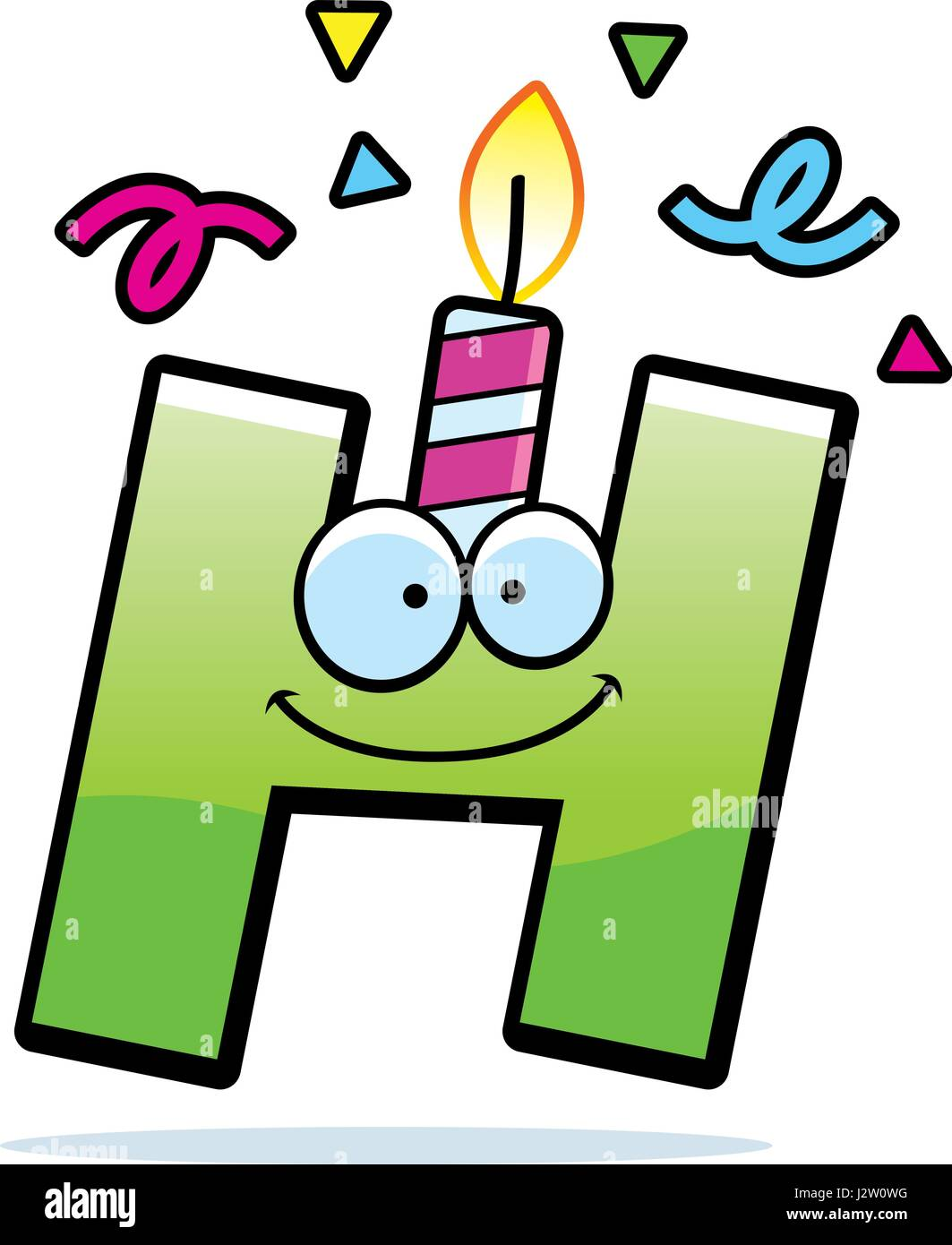 A Cartoon Illustration Of Letter H With Birthday Candle And Confetti