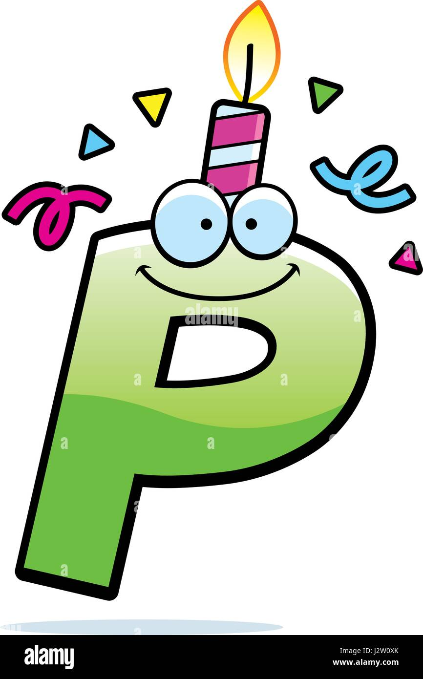 a cartoon illustration of a letter p with a birthday candle and confetti