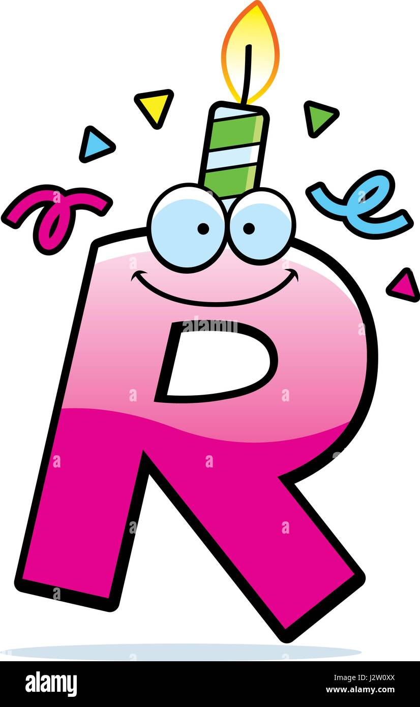 A cartoon illustration of a letter R with a birthday ...