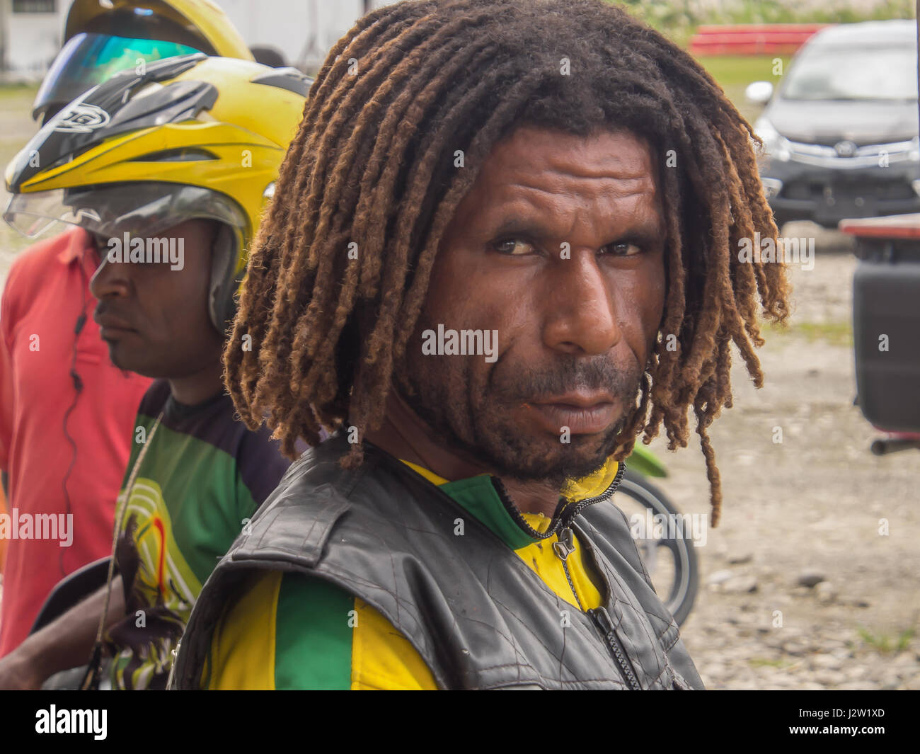 Dekai, Indonesia - January 12, 2015: Portret of the Papuan with a dreadlock - Stock Image