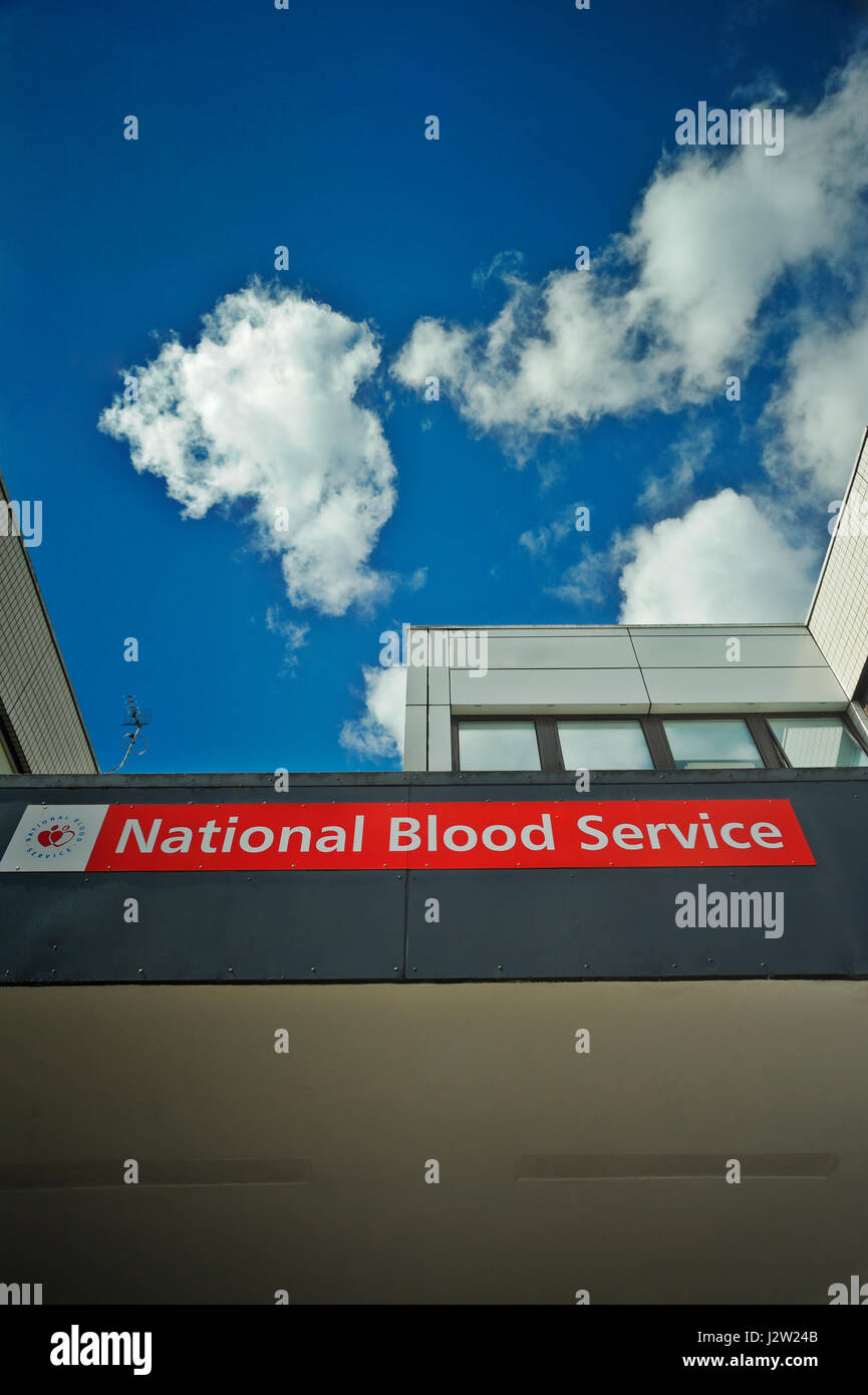 Hospital signs for blood transfusion department - Stock Image