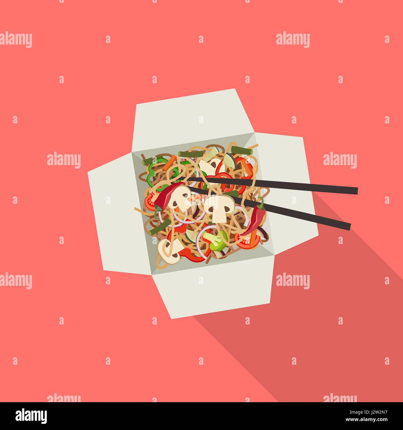 Chinese noodles in box. - Stock Vector