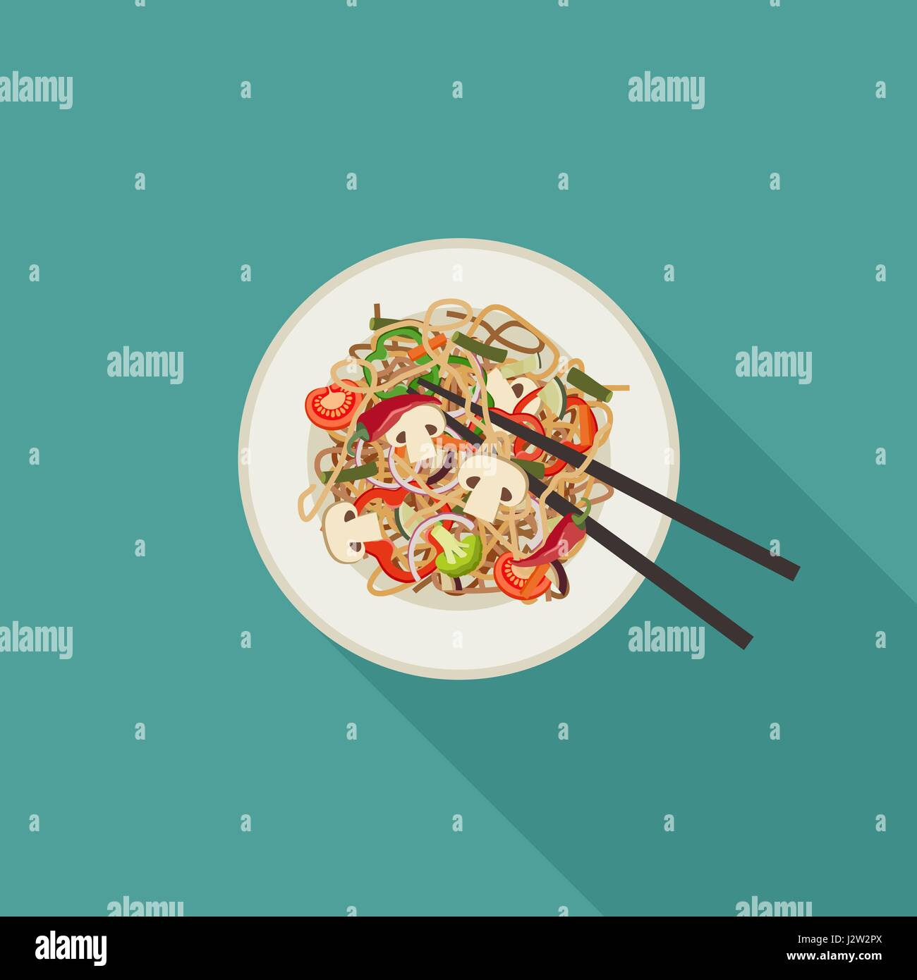 Noodles on plate. - Stock Vector
