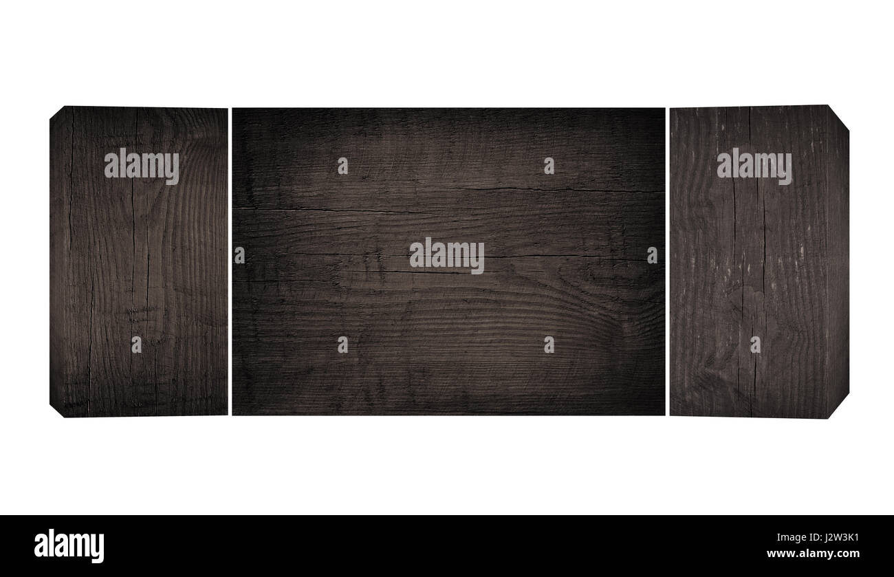 Old black wooden planks and flat cutting, chopping board with copy space - Stock Image