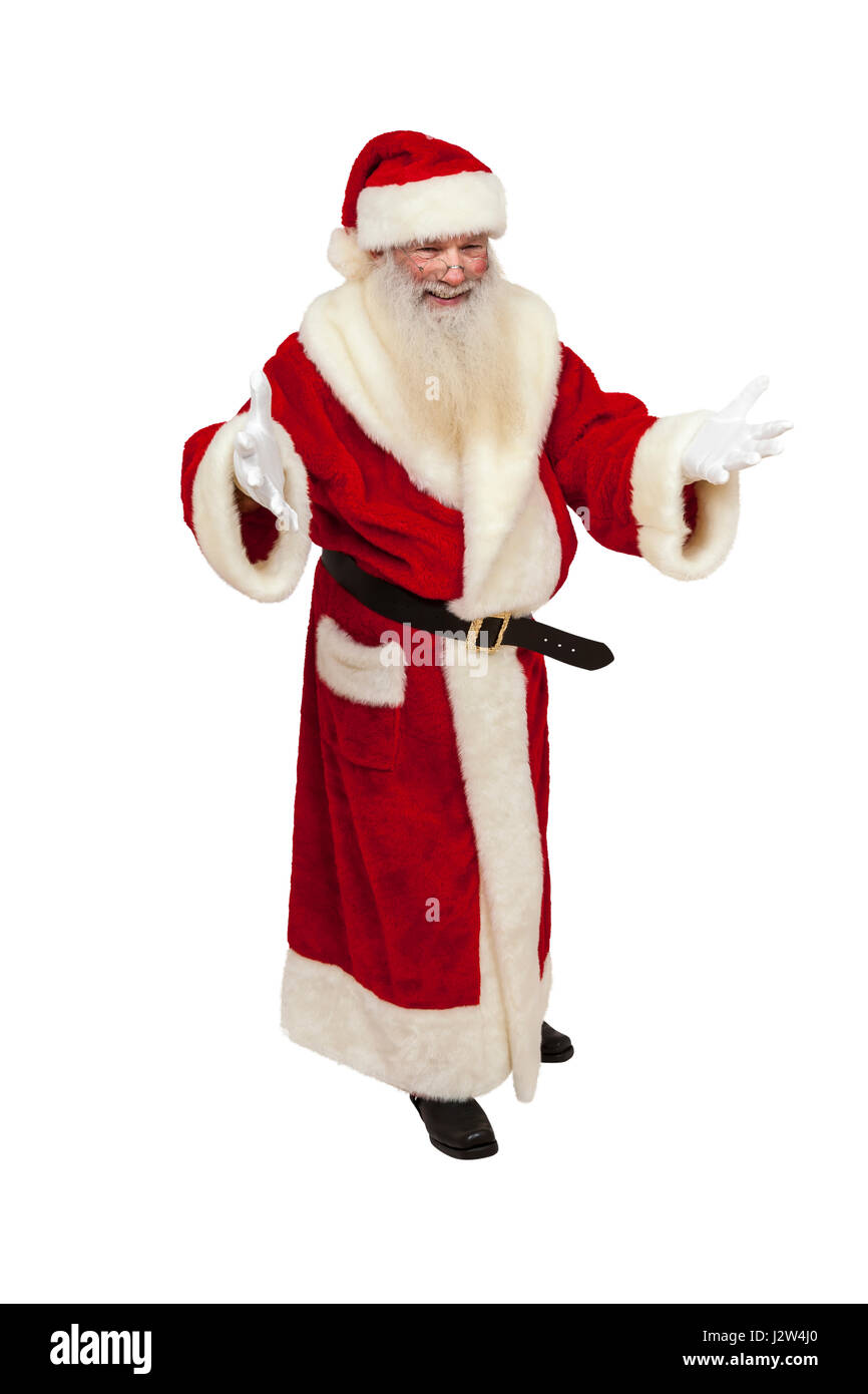 Santa Claus with real beard greets somebody warmly (isolated) - Stock Image