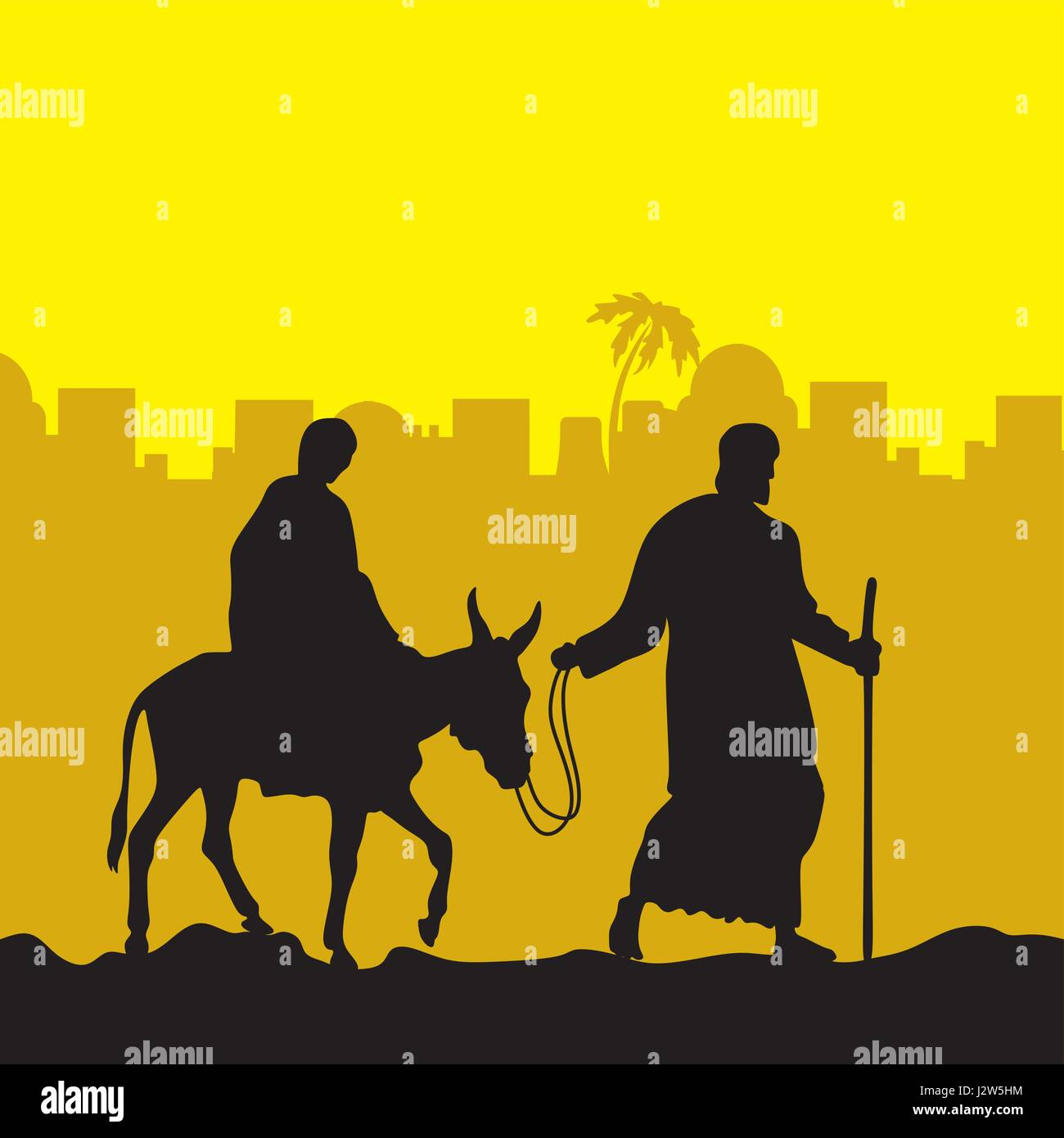 The Nativity of Jesus. Joseph and Mary on the donkey - Stock Image
