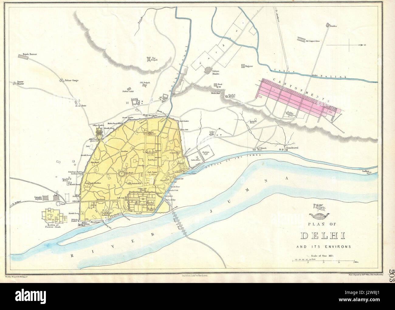 Map of delhi stock photos map of delhi stock images alamy 1863 dispatch atlas map of delhi india geographicus delhi dispatch 1867 gumiabroncs Gallery