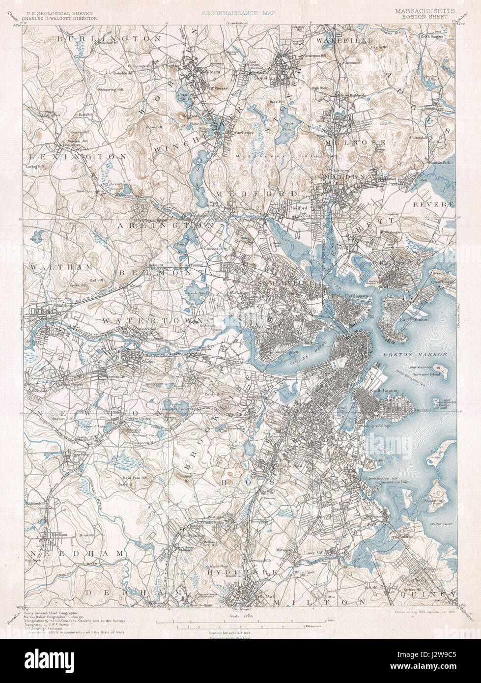 1900 U.S. Geological Survey of Boston and Vicinity, Massachusetts - Geographicus - Boston-USGS-1900 - Stock Image