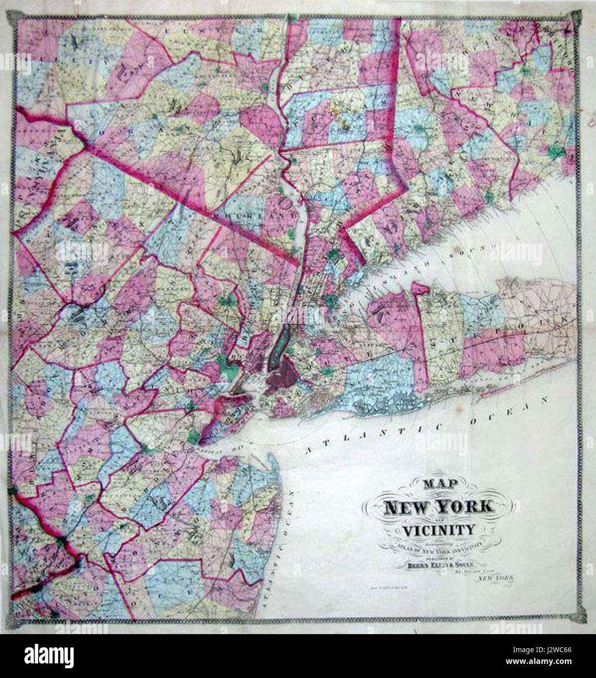 Map Of New York City And Long Island.1867 Beers Map Of New York City And Vicinity Westchester Long