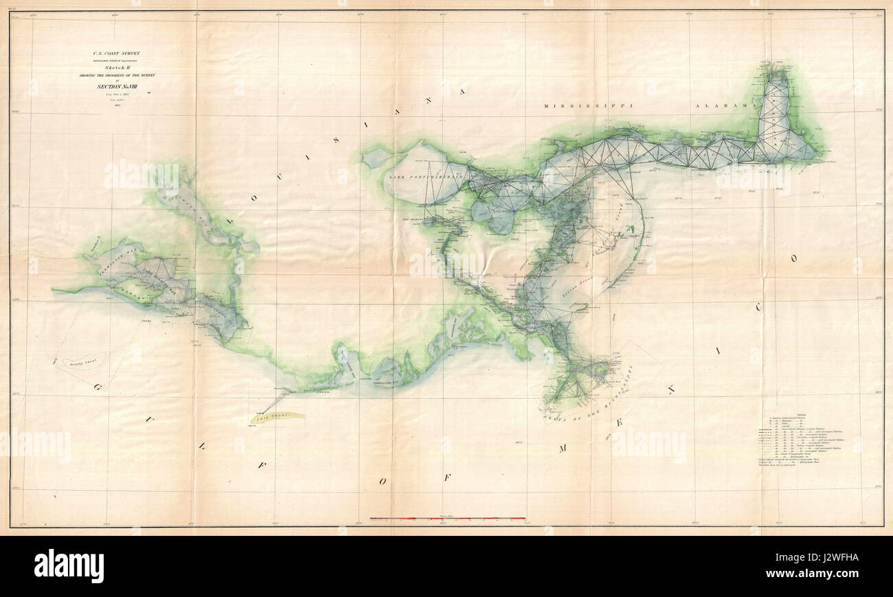 1873 U.S. Coast Survey Map of the Delta of the Mississippi ...