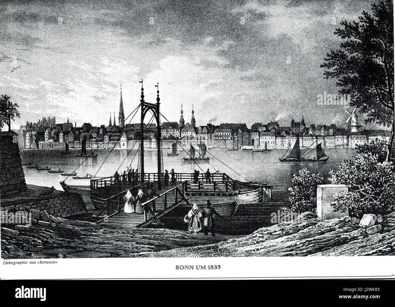 Bonn um1835 Stahlstich - Stock Image