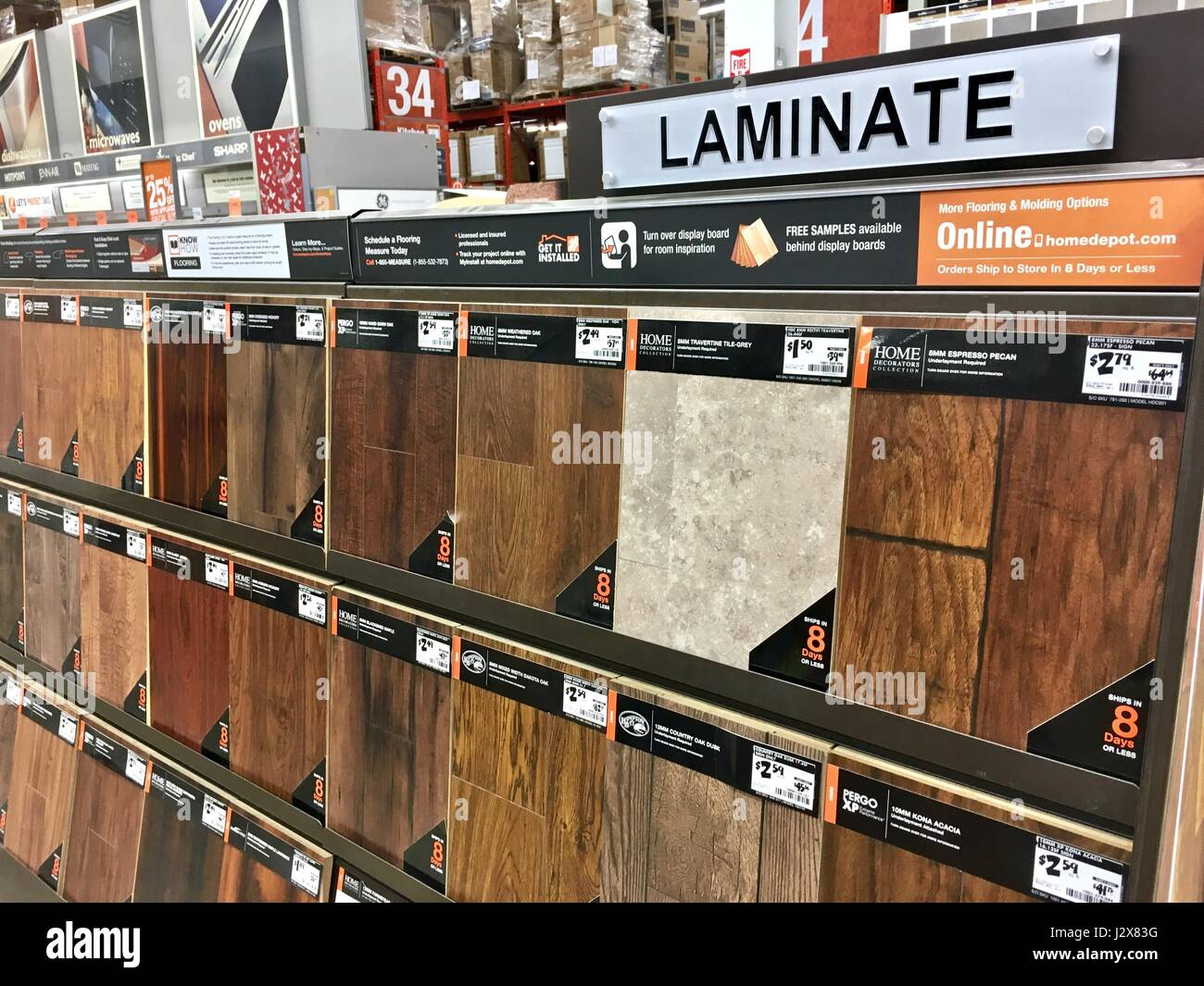 Laminate Flooring Selection At The Home Depot Store Stock Photo Alamy