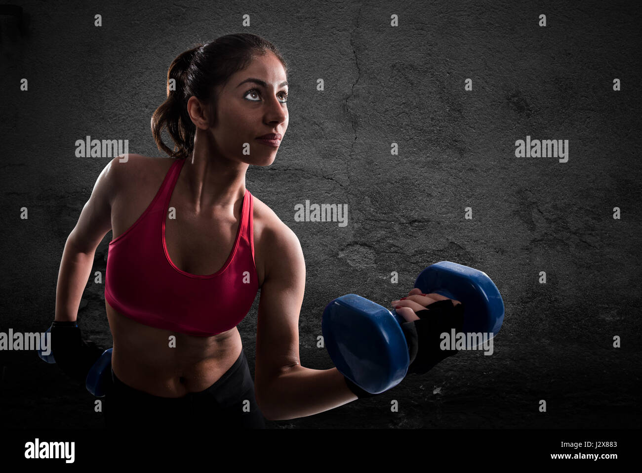 Athletic muscular woman - Stock Image