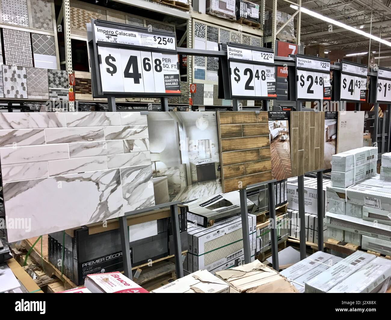 The Home Depot flooring selection displaying tile, hardwood Stock ...