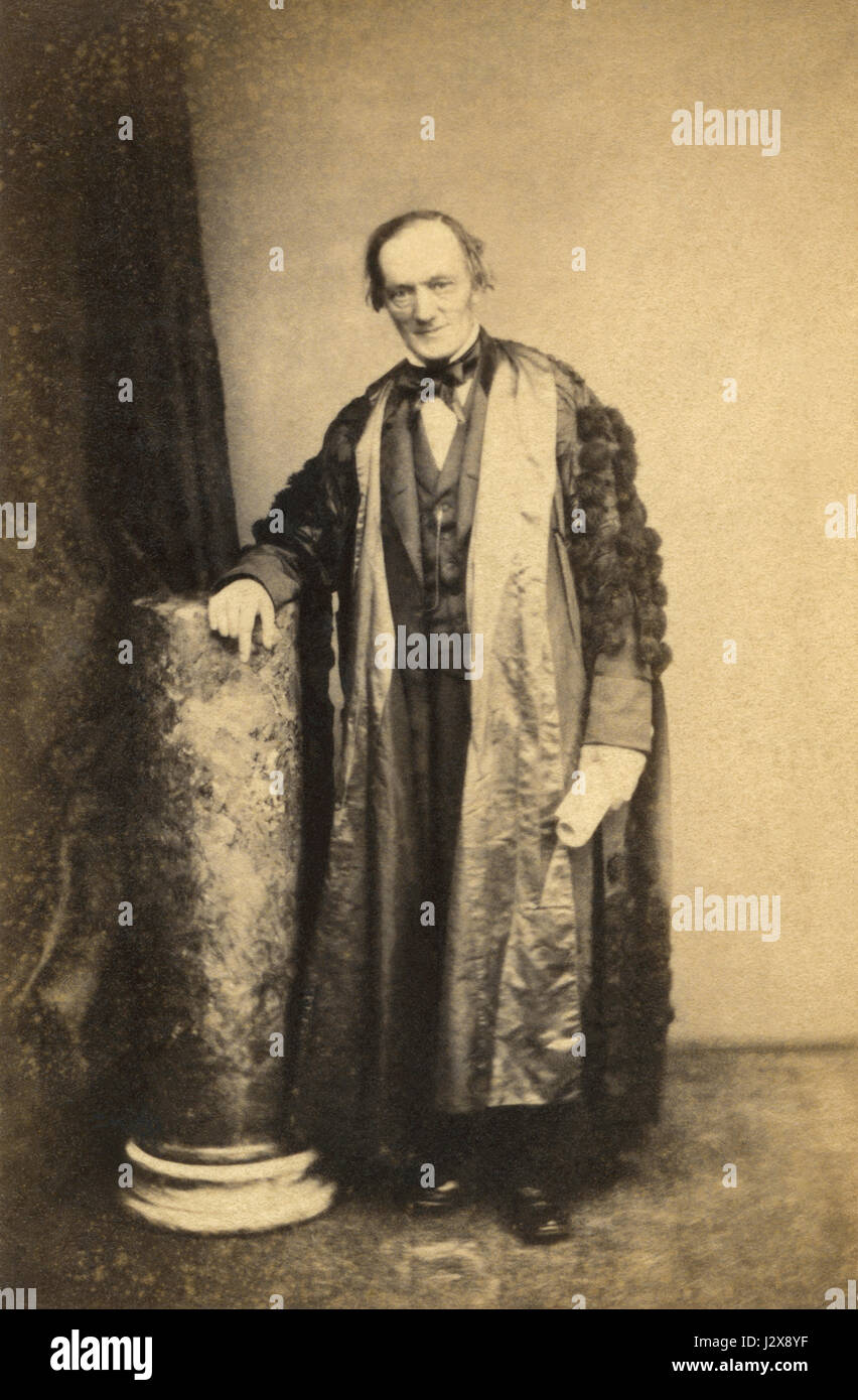 Sir Richard Owen KCB FRS (1804-1892) was an English biologist, comparative anatomist, paleontologist and outspoken - Stock Image
