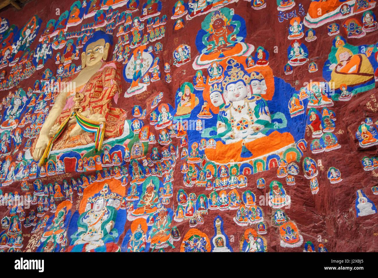 Thousand Buddha cliffside sculpture in Lhasa, Tibet. - Stock Image