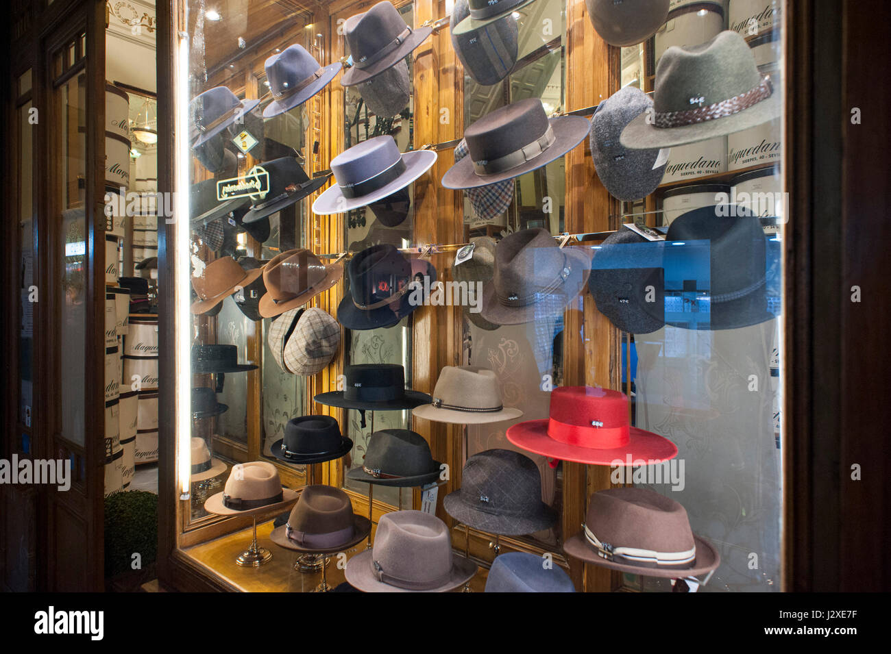 4f1a34da window of a traditional hat shop in Seville, Spain Stock Photo ...