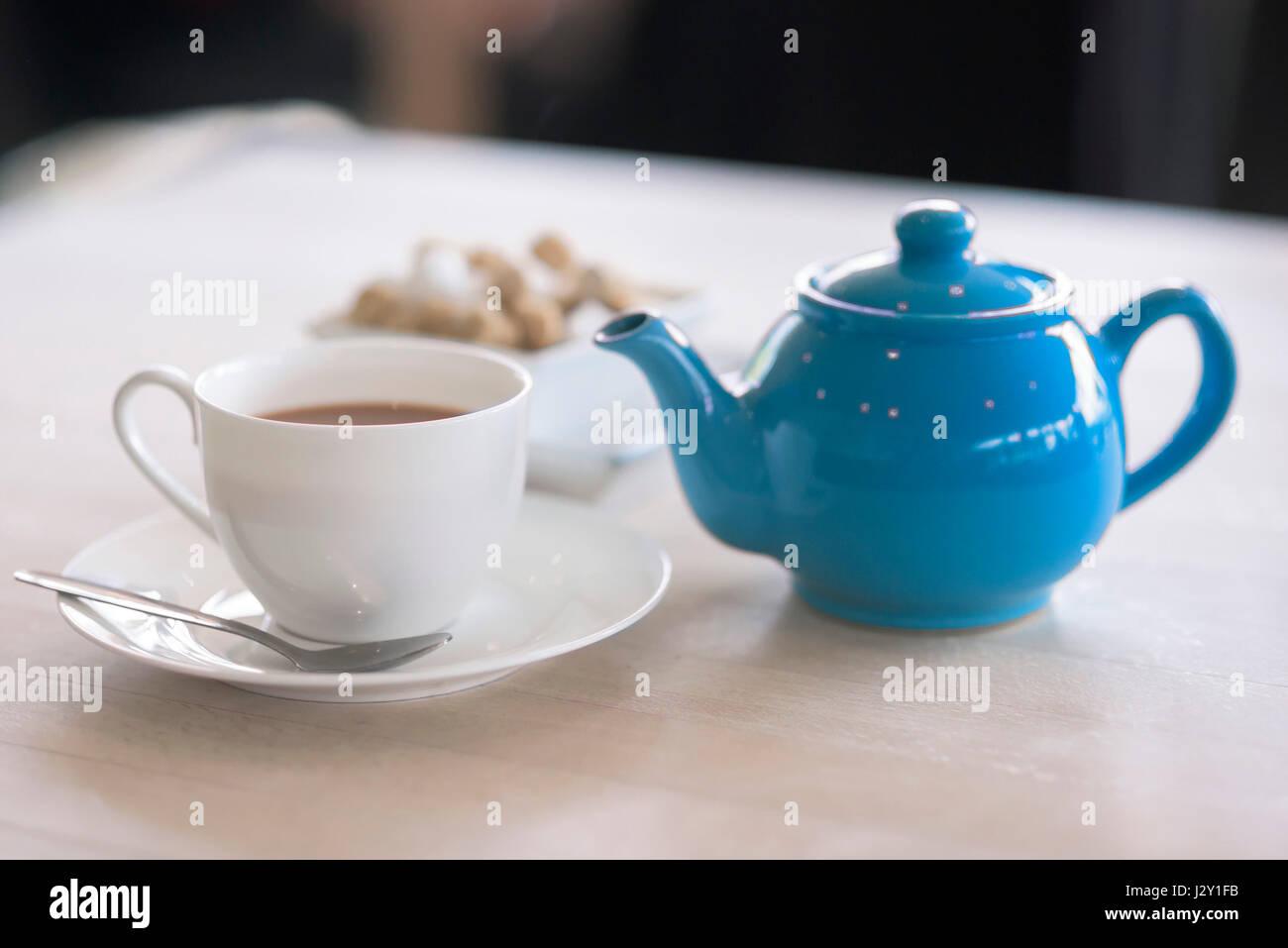 Cup of tea Teapot Tea Pot Refreshing Refreshment Crockery Stimulant Beverage British - Stock Image