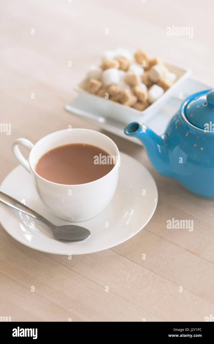 Cup of tea Teapot Refreshing Refreshment Crockery Stimulant Beverage British - Stock Image