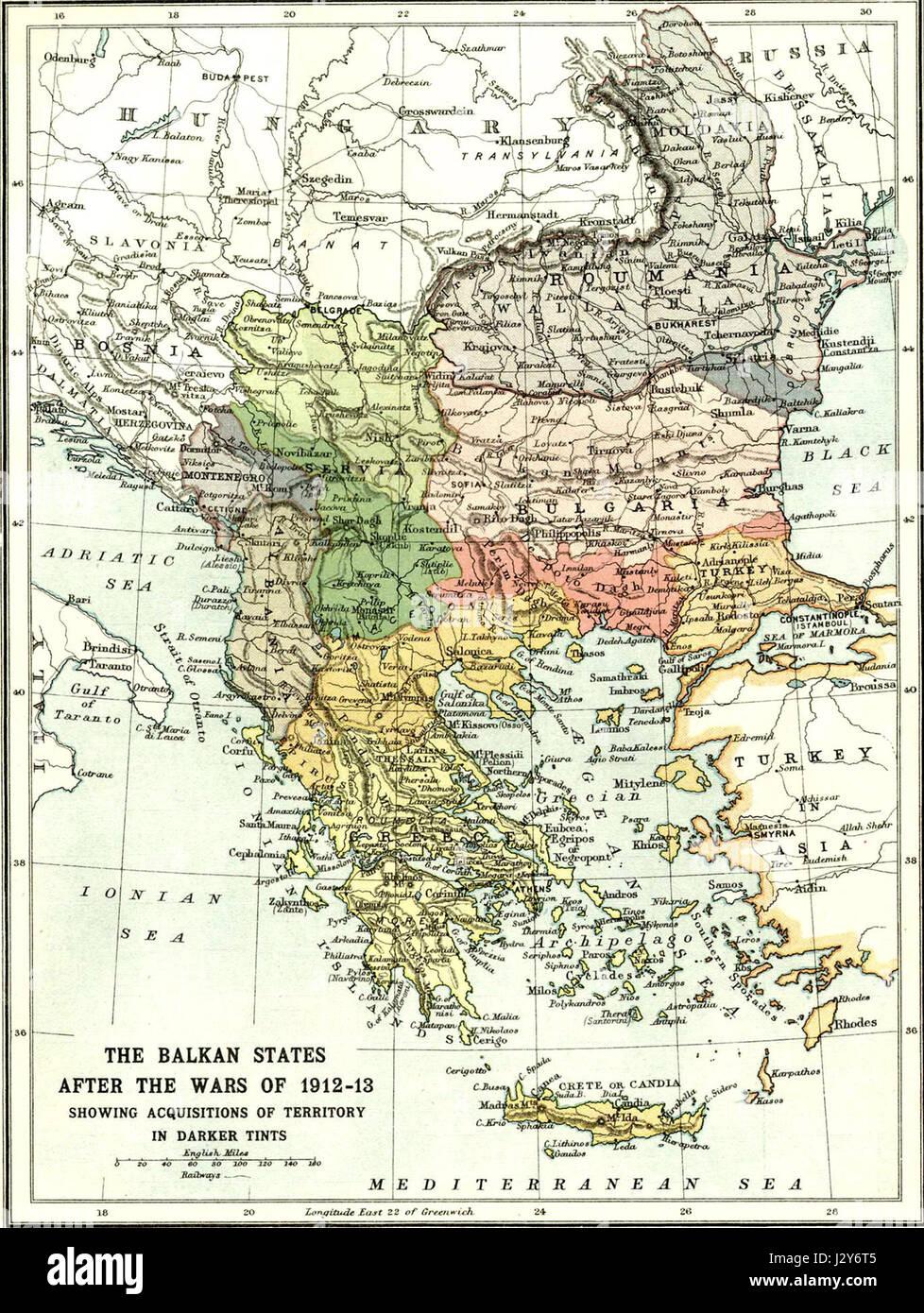 Balkans at 1913 - Stock Image