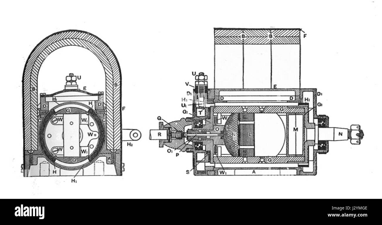 Aster ignition magneto, section (Rankin Kennedy, Electrical Stock ...