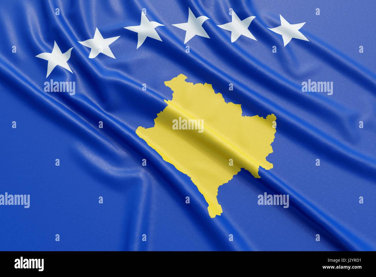 Kosovo flag. Wavy fabric high detailed texture. 3d illustration rendering Stock Photo