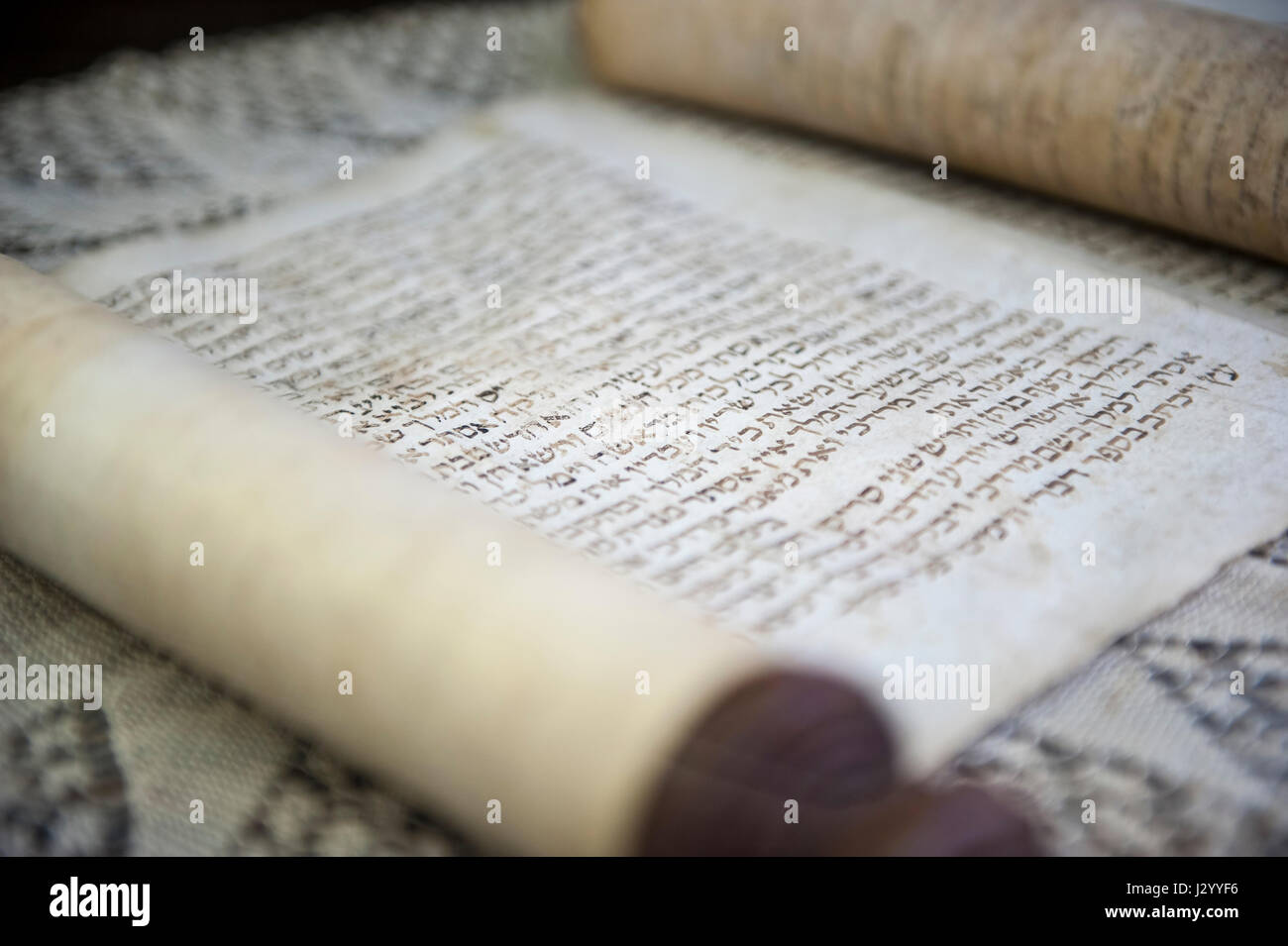 Close up of a  jewish papyrus in a museum - Stock Image
