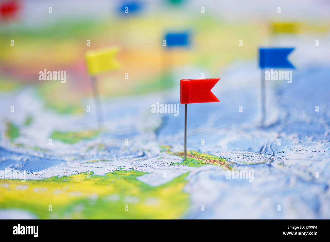 Europe map pin flags stock photos europe map pin flags stock travel concept with flag pushpins and world map stock image gumiabroncs Images