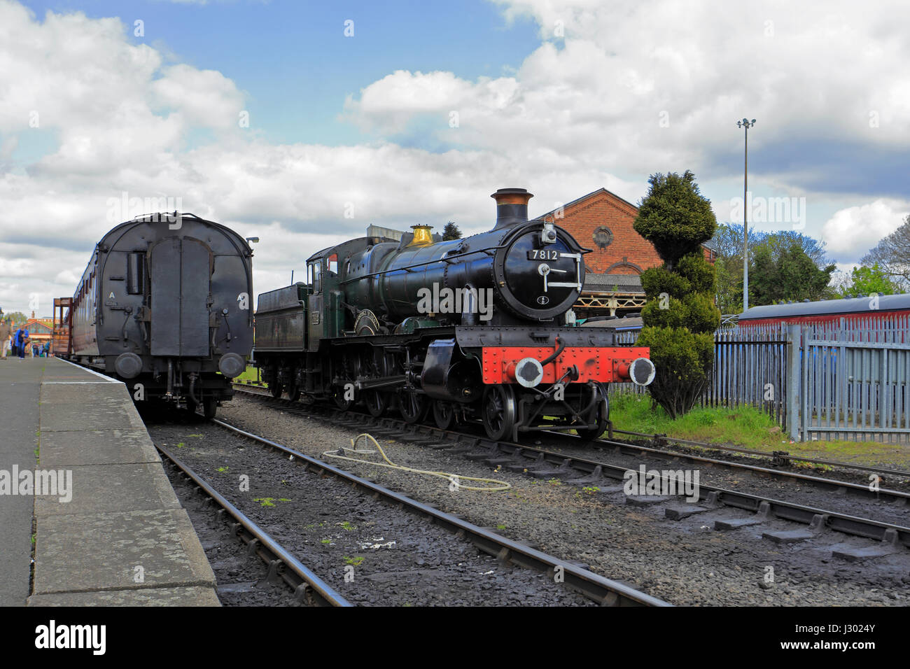 Steam locomotive No. 7812 at Kidderminster Railway Station on the Severn Valley Railway, Kidderminster, Shropshire, - Stock Image