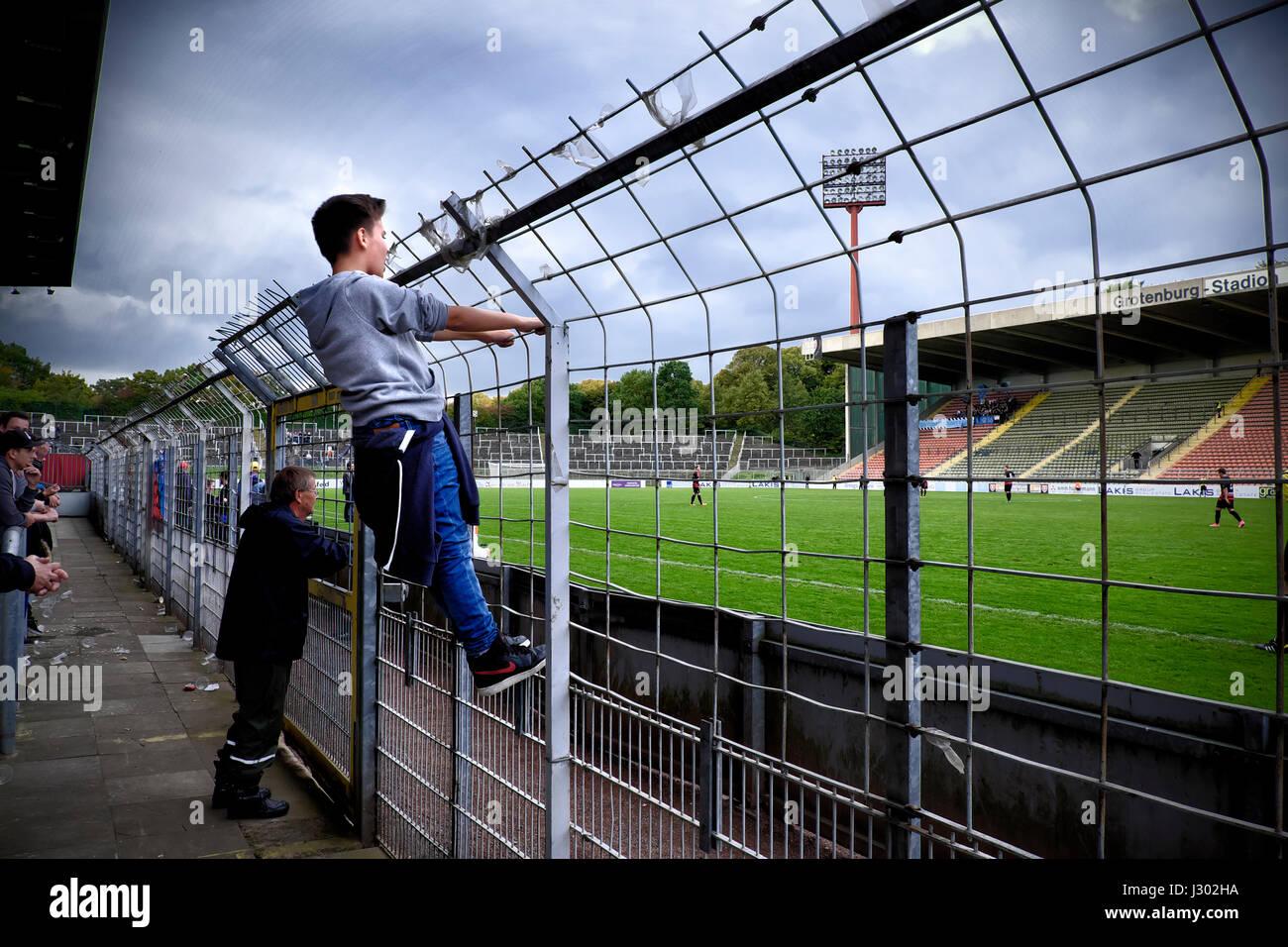 Match day at Krefeld's Grotenburg Stadium - Stock Image