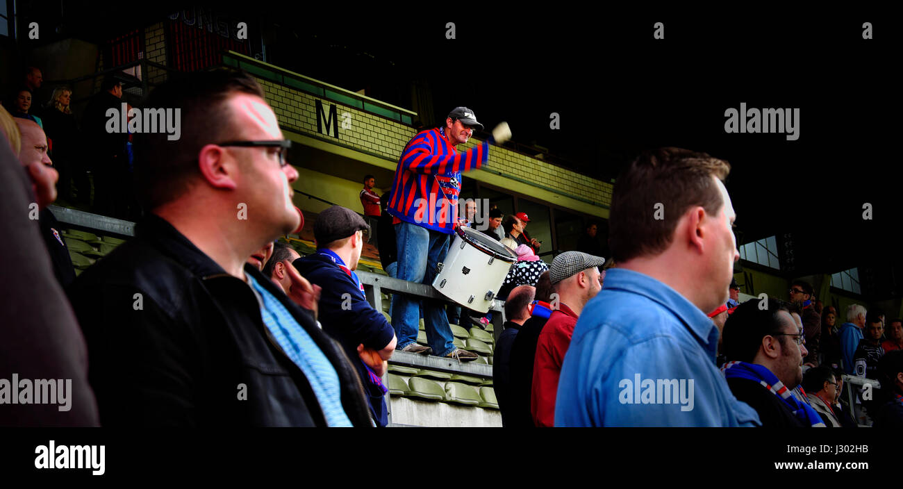 Match day at Krefeld's Grotenburg Stadium Stock Photo