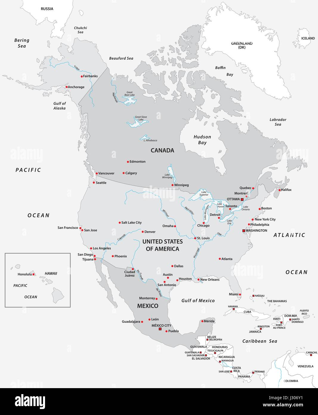 Map Of North America In Black And White   Stock Image