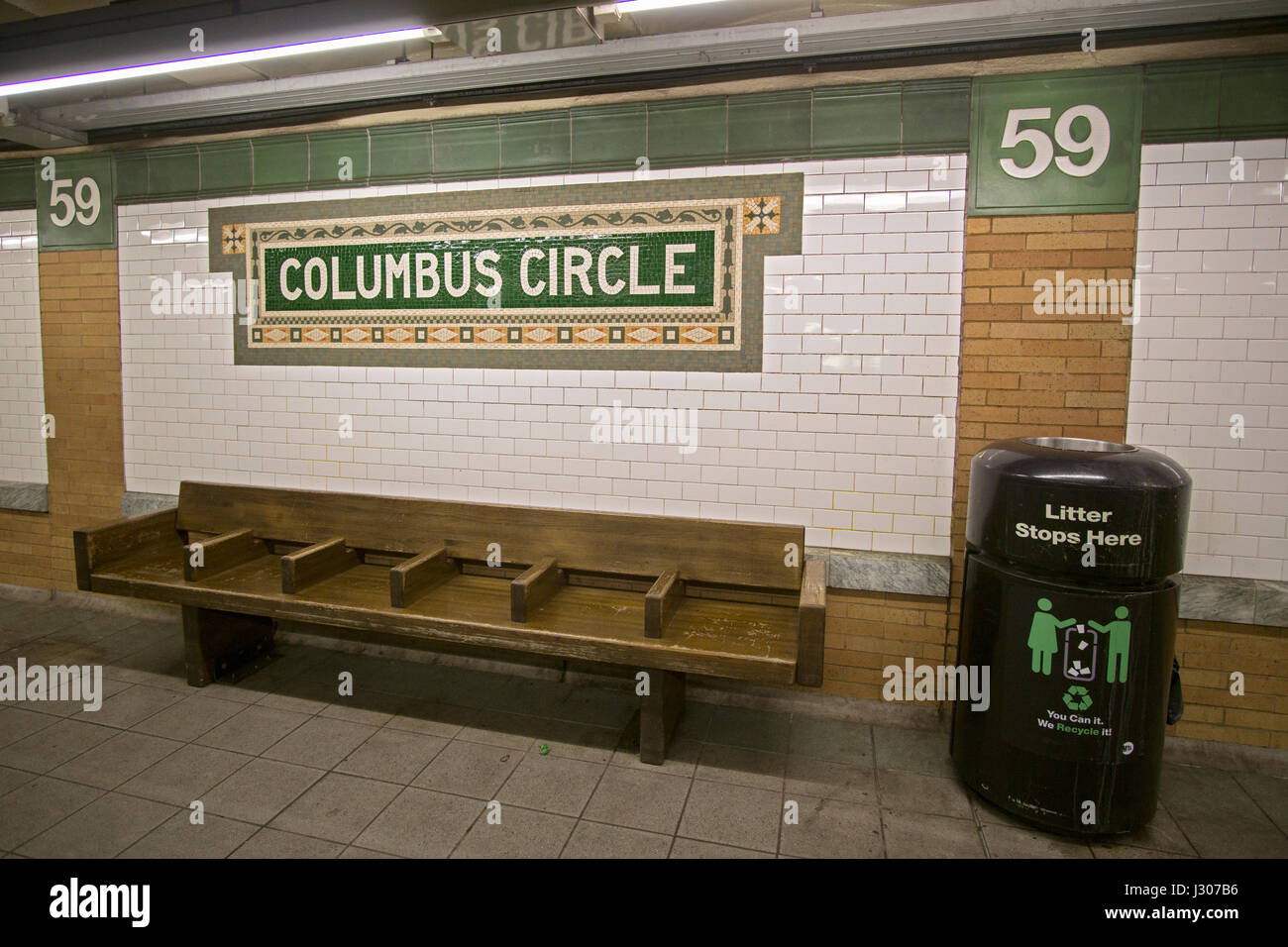 A Beautiful Mosaic Sign At The 59th Street Columbus Circle Subway Platform In Midtown Manhattan New York City