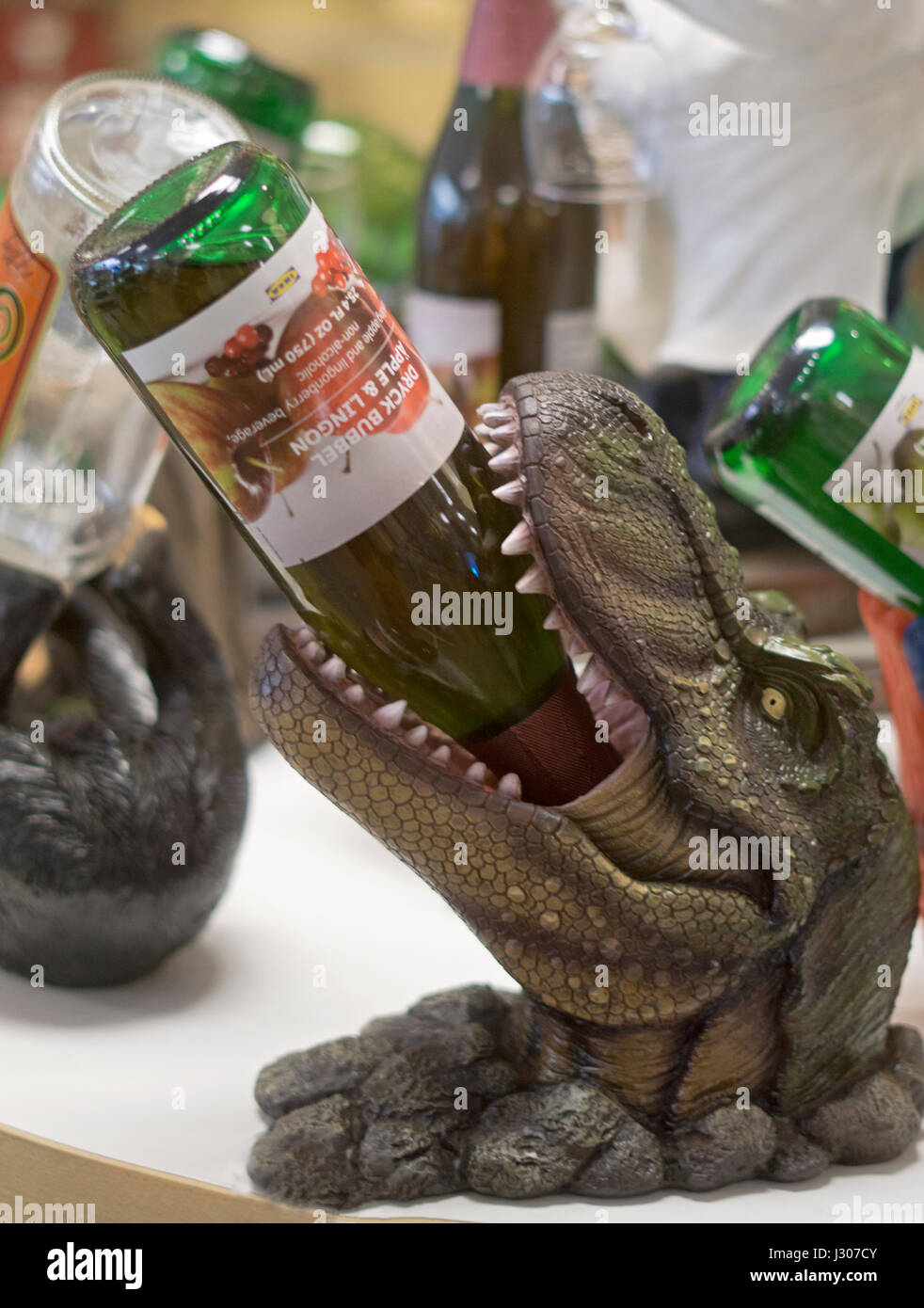 A alligator wine bottle holder for sale at Gizmos & Gadgets at the Tanger Outlet Mall in Deer Park Long Island, - Stock Image