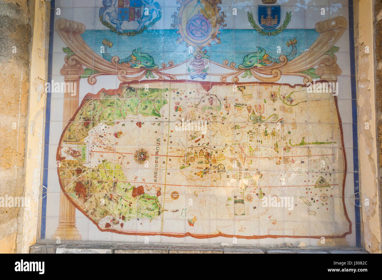 Historic world map of 1500 from seafarer Juan de la Cosa, El Puerto ...