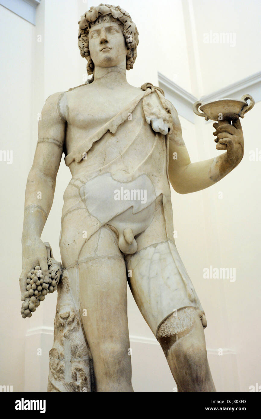 Antinous-Bacchus. Roman creation, 2nd century AD. Statue. National Archaeological Museum. Naples. Italy. - Stock Image