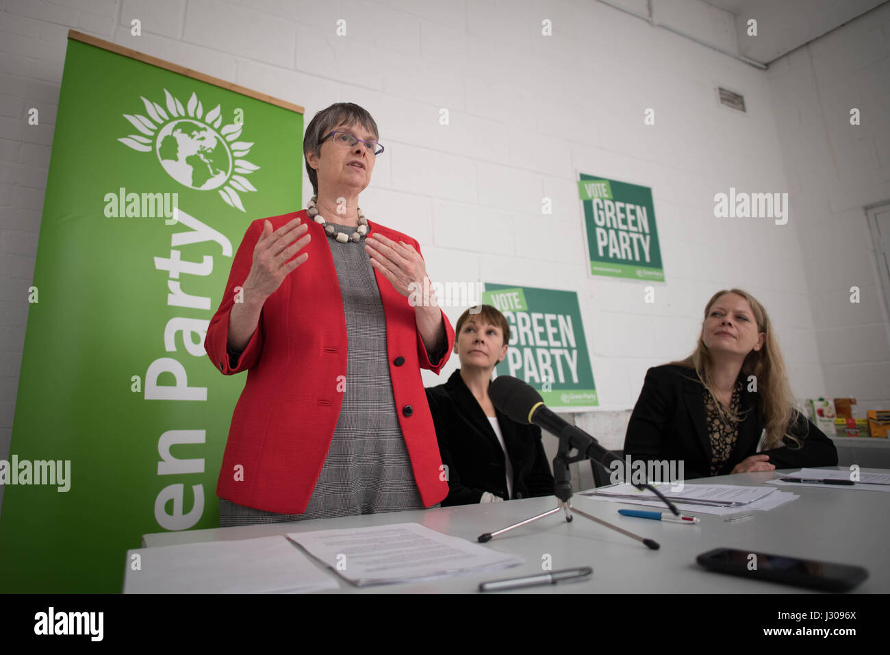 Green MEP Molly Scott Cato (left) speaks during the launch of the Green Party Brexit policy watched by Co-Leader - Stock Image
