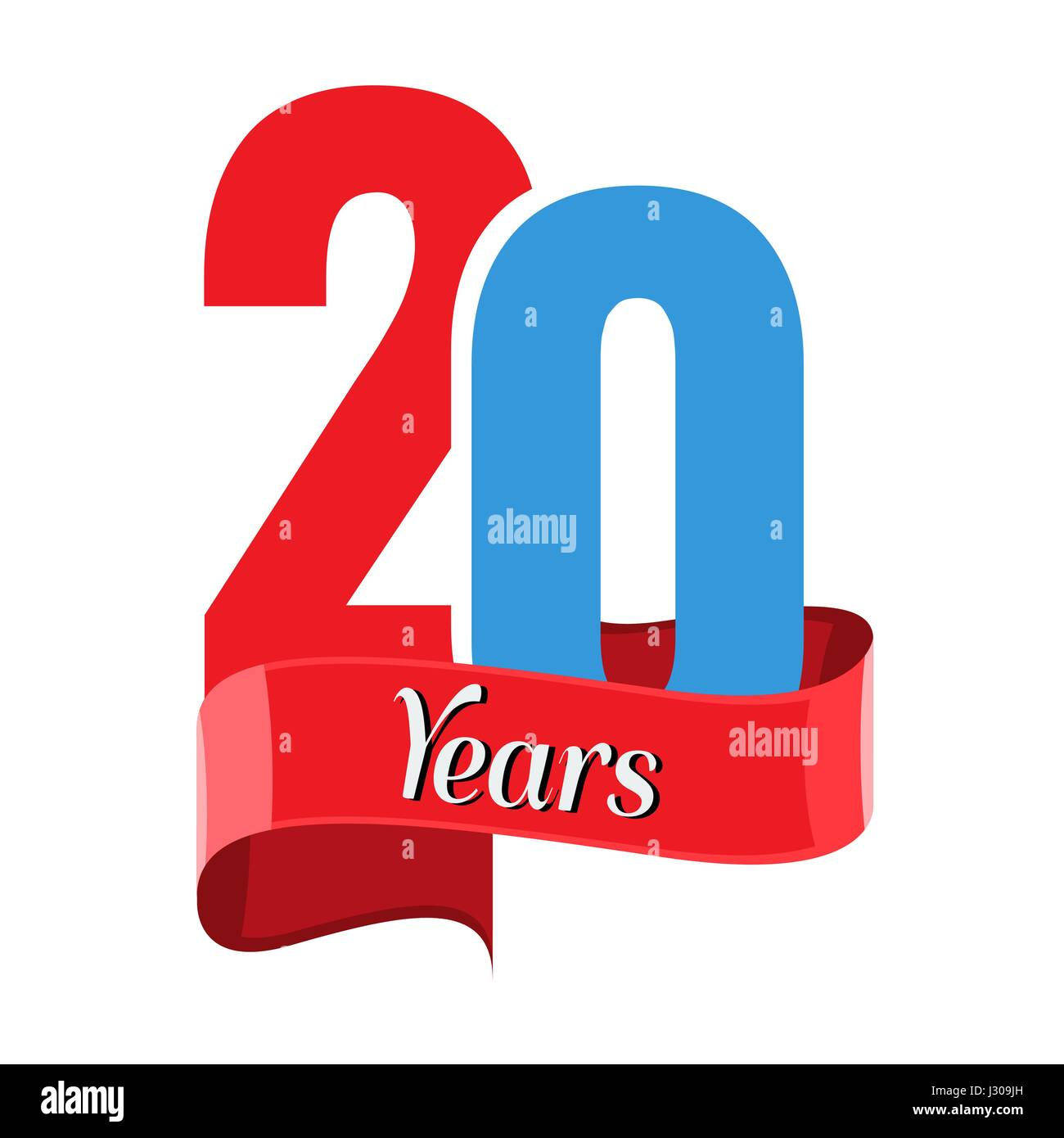 20 year anniversary logo with red ribbon. Flat style vector - Stock Vector