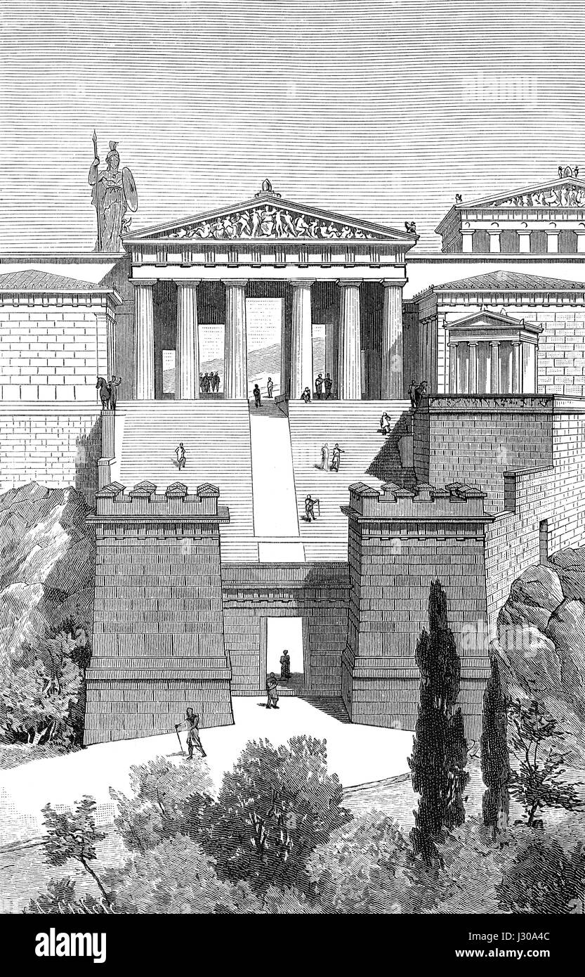 Reconstruction of the propylaea, the entrance to the Acropolis in Athens, Greece, 5th Century BC, Stock Photo