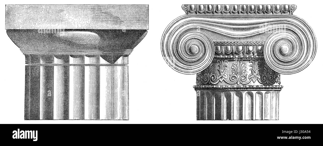 Ancient Greek capitals,  Doric order and Ionic order - Stock Image